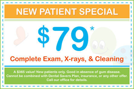 $79 Complete Exam, X-rays, and Cleaning (A $365 value! New patients only. Good in absence of gum disease. Cannot be combined with Dental Savers Plan, insurance, or any other offer. Call our office for details.)