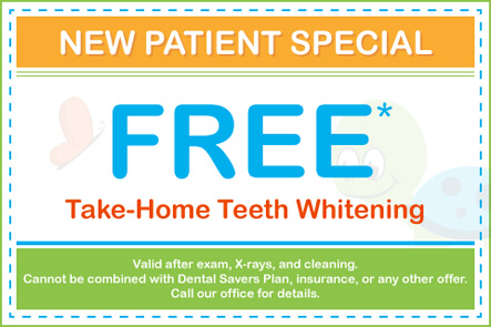 FREE Take Home Teeth Whitening (Valid after exam, X-rays, and cleaning. Cannot be combined with Dental Savers Plan, insurance, or any other offer. Call our office for details.)